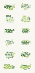 Organic Product, Made in Nature and Locally Grown Vegan logos and elements collection for food market, ecommerce, products promotion, healthy life and premium quality food and drink. Hand typography.