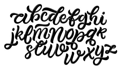 Hand drawn typeface set. Brush painted characters: lowercase and uppercase. Script font isolated on white background.