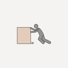 person pushes box hard 2 colored line icon. Simple colored element illustration. person pushes box hard outline symbol design from carrying and picking box set