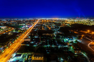 Long exposure, Aerial view highway in city downtown Chonburi Thailand, photo taken by long exposure techniques