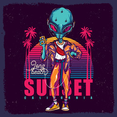 Vector illustration of the alien on the background of the neon sunset and palm trees, with a cassette player in his hands.