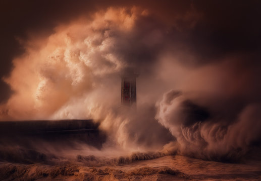 Scenic view of waves crashing on lighthouse during sunset