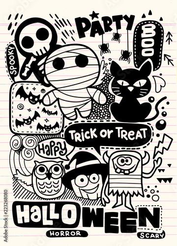 Halloween party invitation card,Hand Drawn Vector