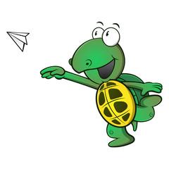 Cute Turtle throw a paper plane cartoon vector