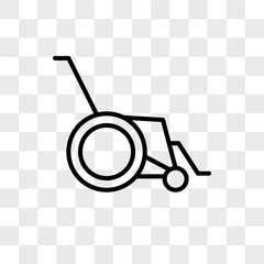 Wheelchair vector icon isolated on transparent background, Wheelchair logo design