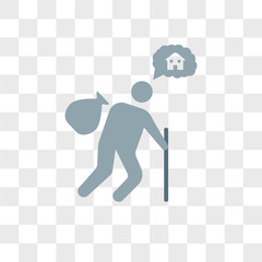 Homeless vector icon isolated on transparent background, Homeless logo design