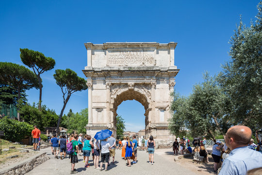 The Arch of Titus located next to the Colosseum in Rome