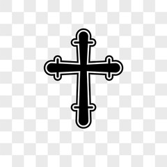 Christian Cross vector icon isolated on transparent background, Christian Cross logo design