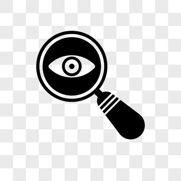 Detective search vector icon isolated on transparent background, Detective search logo design