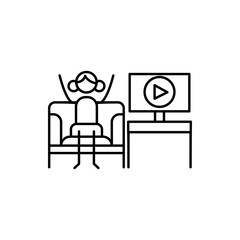 video blogger icon. Element of human hobbies icon for mobile concept and web apps. Thin line video blogger icon can be used for web and mobile