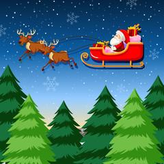 A santa riding sleigh