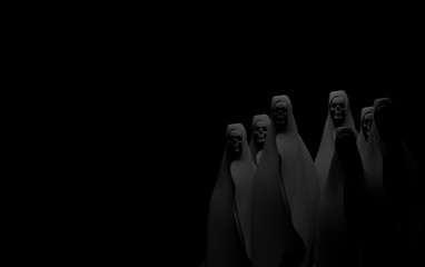 ghost on black background . Apocalypse and hell concept.3d rendering