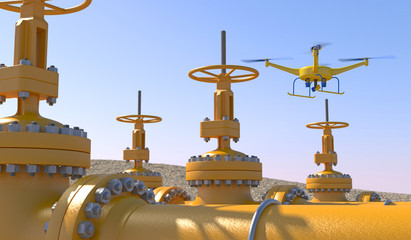 3D illustration of a UAV drone in flight inspecting oil/gas pipeline valves. Fictitious UAV, motion blur and depth-of-field for dramatic effect. Wall mural