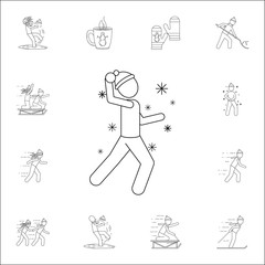 man playing snowballs icon. Winter icons universal set for web and mobile