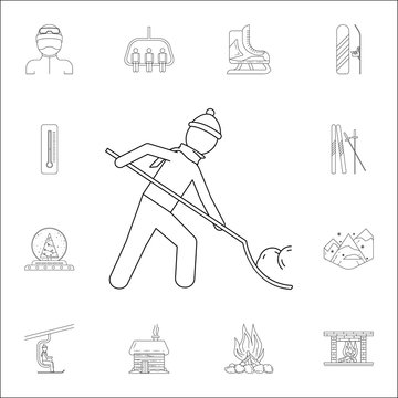 a man is cleaning the snow with a shovel icon. Winter icons universal set for web and mobile
