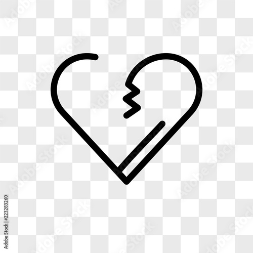 Broken heart vector icon isolated on transparent background