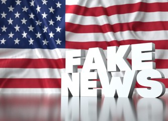 3d render, fake news lettering in front of Realistic Wavy Flag of United States.