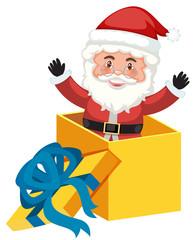 A santa in the present box