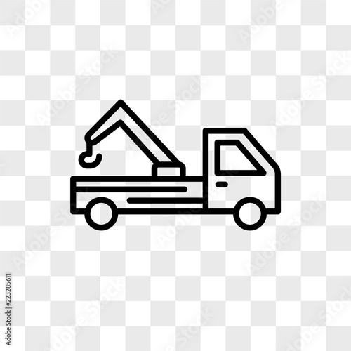 Tow Truck Vector Icon Isolated On Transpa Background