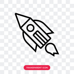 Rocket vector icon isolated on transparent background, Rocket logo design