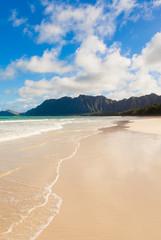 Beautiful Hawaii beach and mountains