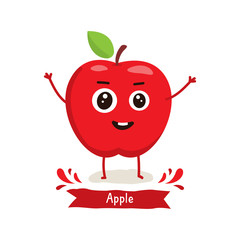 Cute Apple character, Apple cartoon vector illustration. Cute fruit vector character isolated on white background