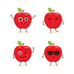 Cute vector set of apple fruit character in different action emotion. Collection of apple characters in different expressions, Funny fruit character isolated on white background