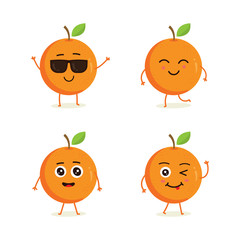 Cute vector set of orange fruit character in different action emotion. Collection of orange characters in different expressions, Funny fruit character isolated on white background
