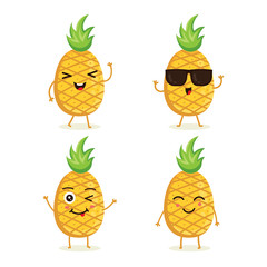 Cute vector set of pineapple fruit character in different action emotion. Collection of pineapple characters in different expressions, Funny fruit character isolated on white background