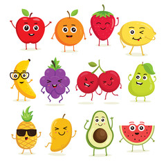 Vector collection of cute fruits. Funny fruit characters isolated on white background, Cute and funny fruit set vector illustration