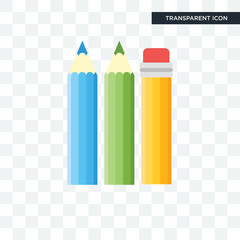 Pencils vector icon isolated on transparent background, Pencils logo design