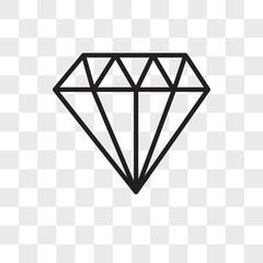 Diamond vector icon isolated on transparent background, Diamond logo design