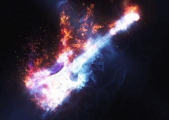 煙と炎に包まれたエレクトリックギター