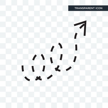 Curly dotted arrow vector icon isolated on transparent background, Curly dotted arrow logo design