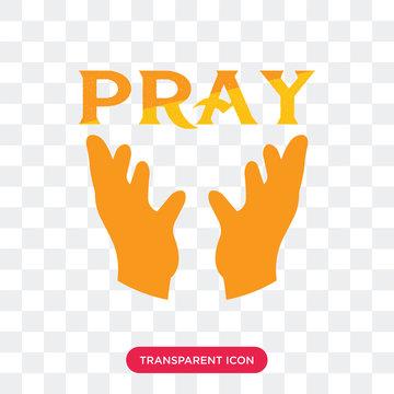 Pray vector icon isolated on transparent background, Pray logo design