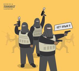 the terrorist gang illustration vector. Criminal concept.
