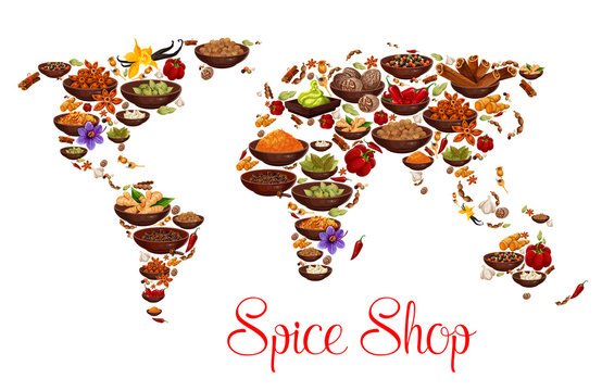 Spices and herbs on vector world map