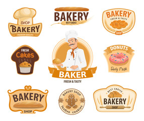 Bakery and pastry or patisserie vector icons