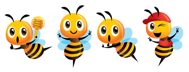 Cartoon cute bee mascot set. Cartoon cute bee showing victory sign, holding a honey dipper and wearing cap. Vector illustration isolated