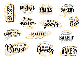 Bakery shop, bread and patisserie pastry lettering