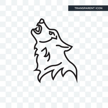 Wolf vector icon isolated on transparent background, Wolf logo design