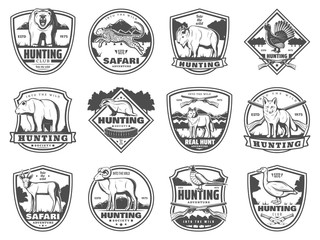 Hunting sport club and adventure icons