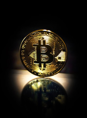 Gold coin bitcoin symbol crypto currency.