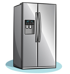 Vector fridge on white background