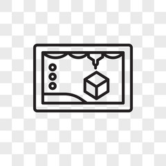3d printer vector icon isolated on transparent background, 3d printer logo design
