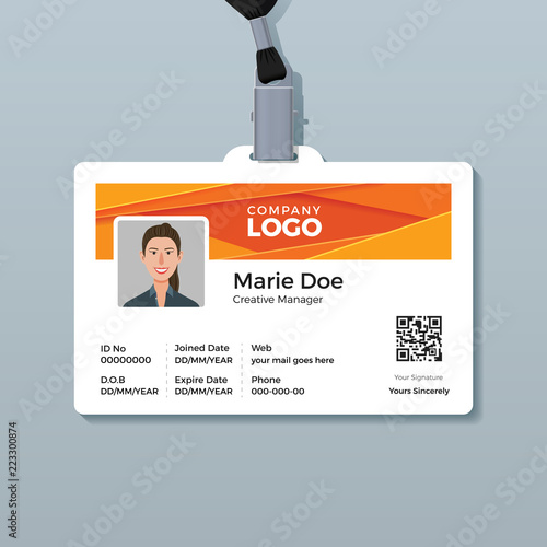 Corporate ID Card Template with Modern Abstract Orange Background ...