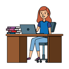 young woman at desk with laptop and books