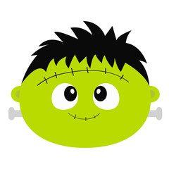 Frankenstein Zombie monster round face icon. Happy Halloween. Cute cartoon funny spooky baby character. Green head. Greeting card. Flat design. White background. Isolated.