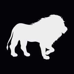 White silhouette of a walking strong lion on a black background