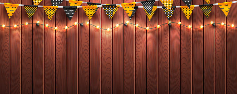 Halloween background with string light and Halloween buntings on wood background.Website spooky or banner template.Vector illustration EPS10